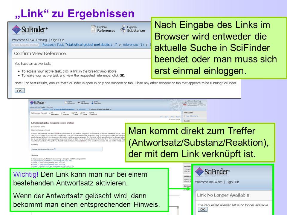 Link-Button in SciFinder: Diese URL kann man kopieren und als Lesezeichen im Browser verwenden in einen Text bzw. ein Protokoll zur späteren Benutzung