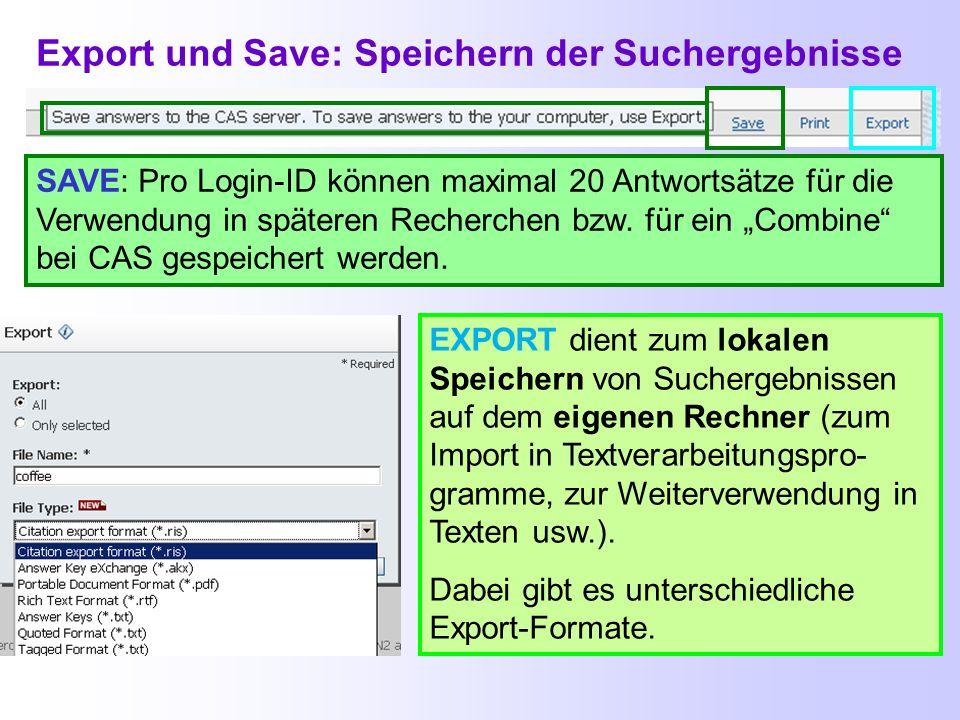 Link zu Ergebnissen Nach Eingabe des Links im Browser wird entweder die aktuelle Suche in SciFinder beendet oder man muss sich erst einmal einloggen.