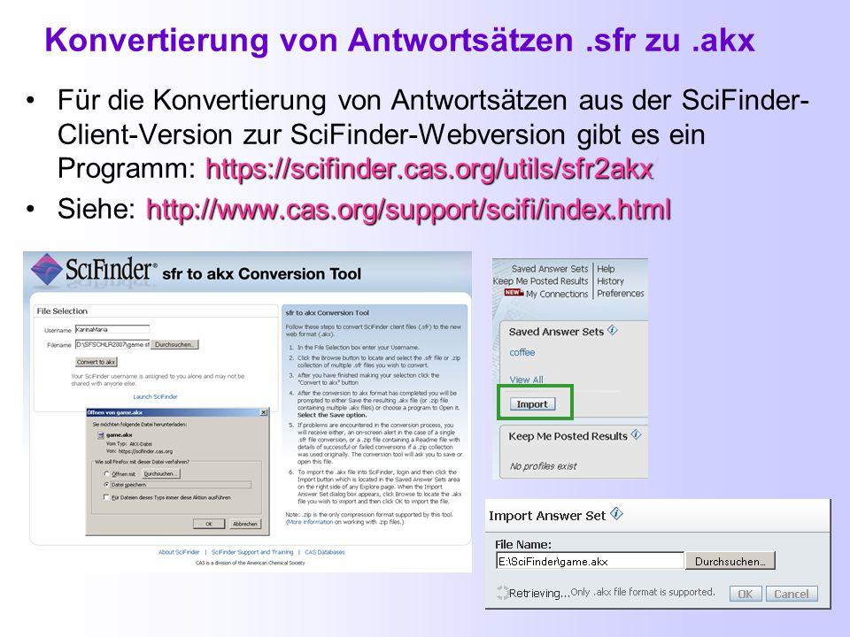 Export und Save: Speichern der Suchergebnisse SAVE: Pro Login-ID können maximal 20 Antwortsätze für die Verwendung in späteren Recherchen bzw. für ein