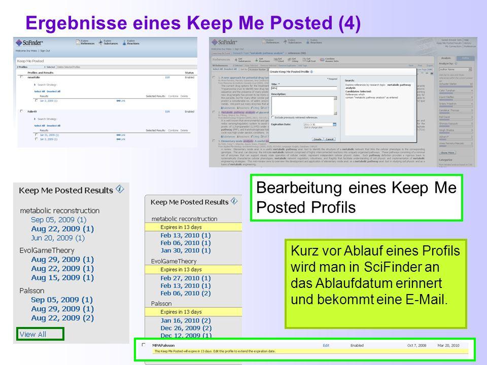 Ergebnisse eines Keep Me Posted (3) Benachrichtigung bei weiteren Einträgen zum Dokument (hier: Indexierung) Keep Me Posted-Ergebnisse, die noch nicht