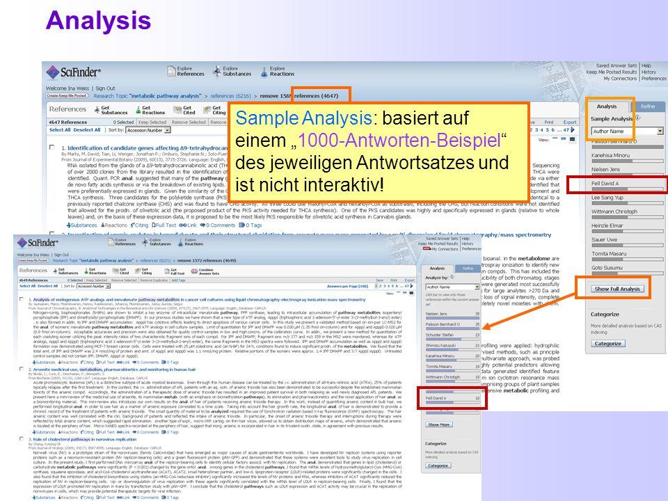 Teil 2: Weitere Funktionen in SciFinder + Hilfen Analysis Combine Categorize Comments und Tags Import von Daten aus SciFinder in Literaturverwaltungsp