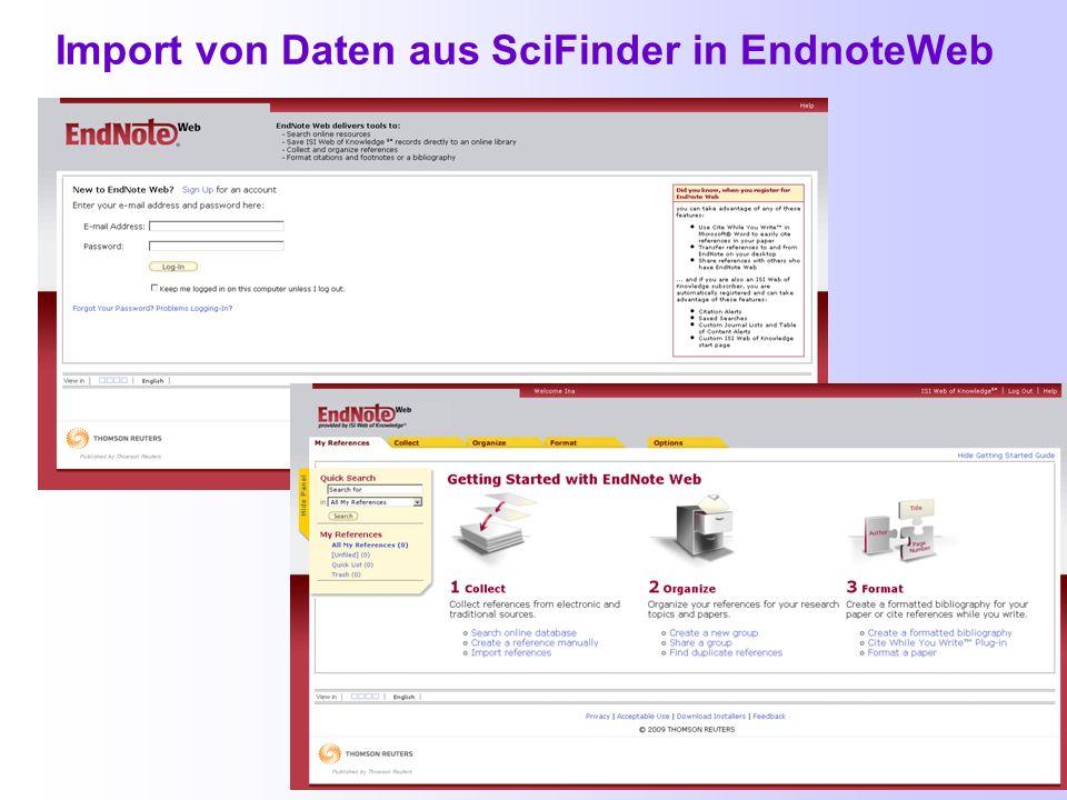 Import aus SciFinder (2) Bei Other Filters wählt man SciFinder aus und bei Import Data File die Datei mit den Ergebnissen aus SciFinder