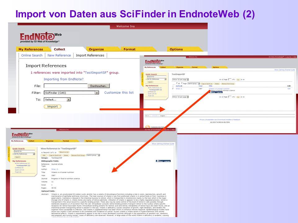 Import von Daten aus SciFinder in EndnoteWeb