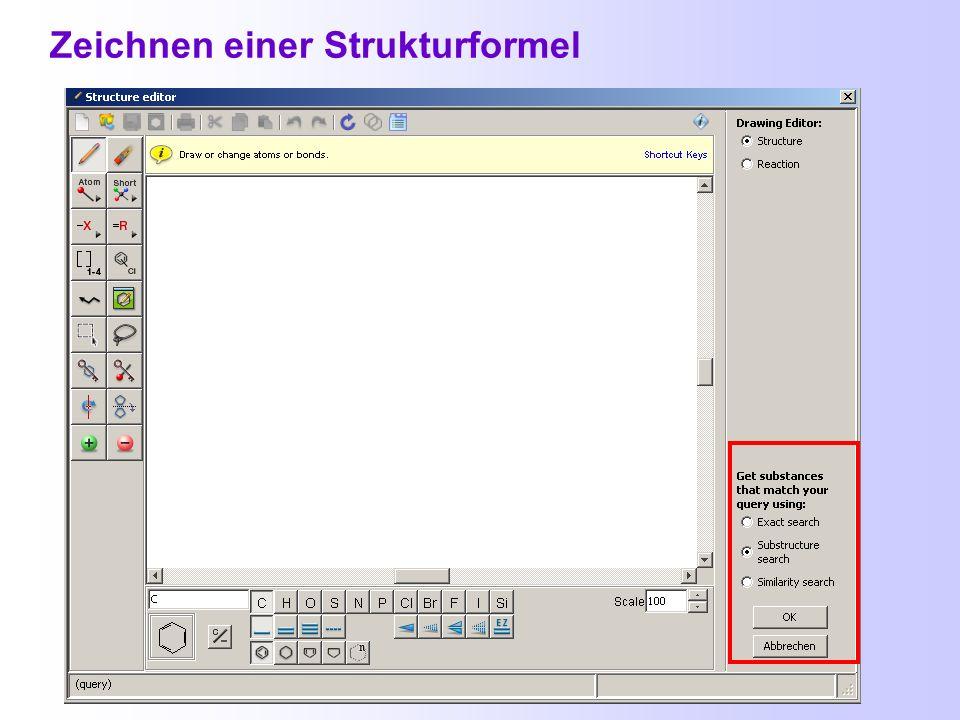Voraussetzung zum Zeichnen chemischer Strukturen: Installation eines Java-Plug-ins http://java.sun.com/javase/downloads/index.jsp http://www.cas.org/m