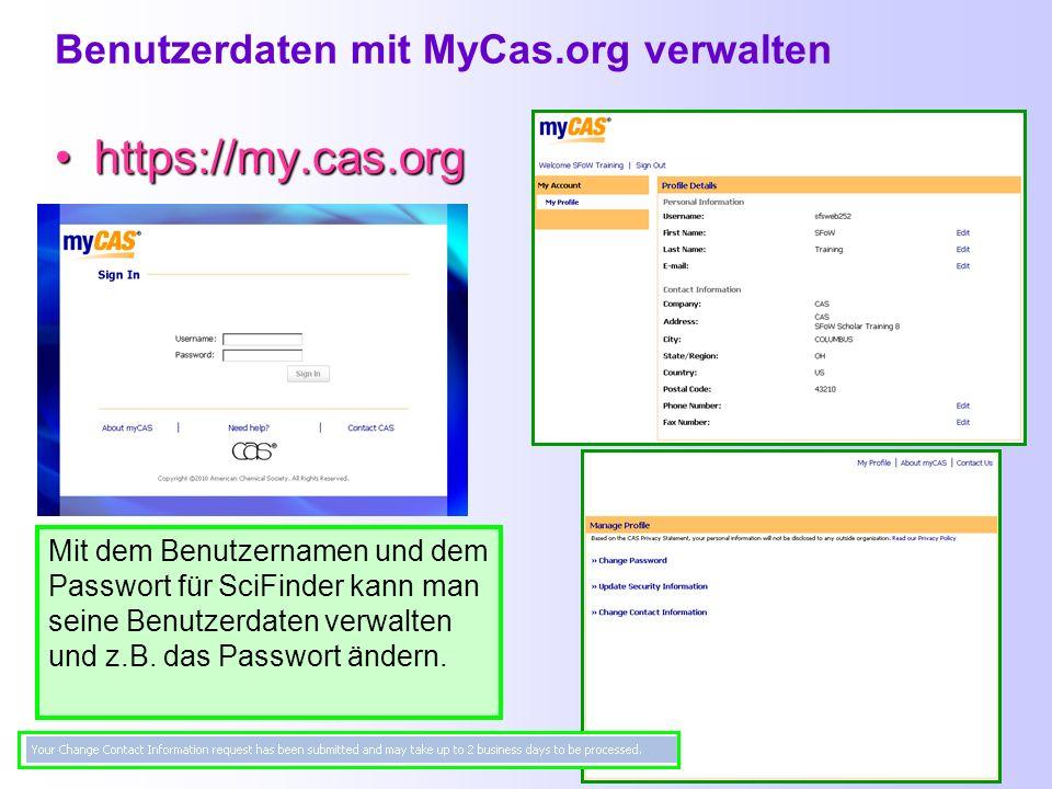 Benutzername oder Passwort vergessen? Link auf der Startseite anklicken und den Anweisungen folgen… https://scifinder.cas.org/password