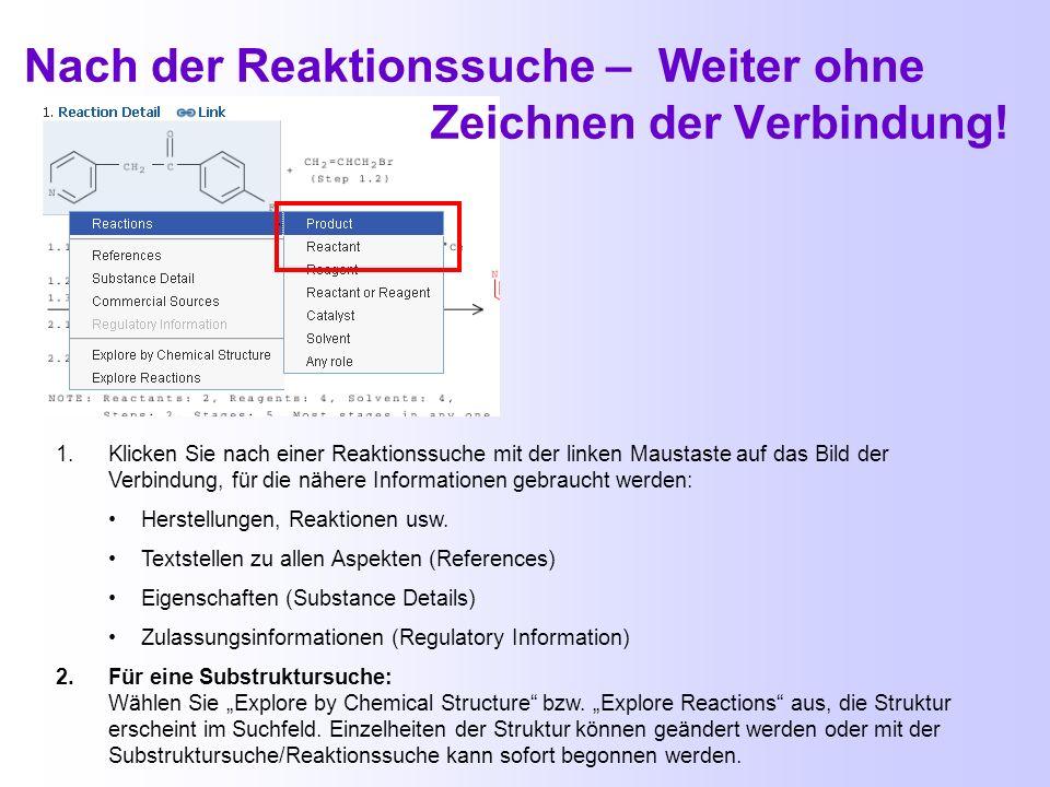 Struktursuche - ohne Zeichnen der Verbindung! 1.Klicken Sie - z.B. nach einer Namens- bzw. RN-Nummernsuche – mit der linken Maustaste auf das Bild der