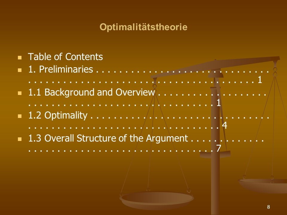 9 Optimalitätstheorie Part I Optimality and Constraint Interaction Overview of Part I..................................................................