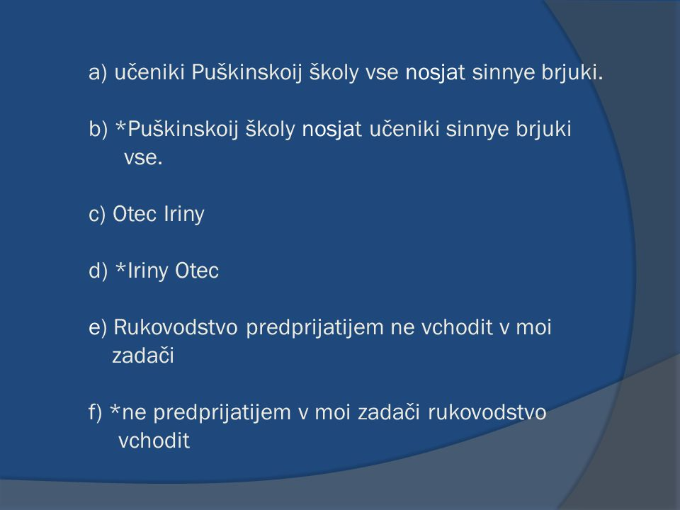 a) učeniki Puškinskoij školy vse nosjat sinnye brjuki. b) *Puškinskoij školy nosjat učeniki sinnye brjuki vse. c) Otec Iriny d) *Iriny Otec e) Rukovod