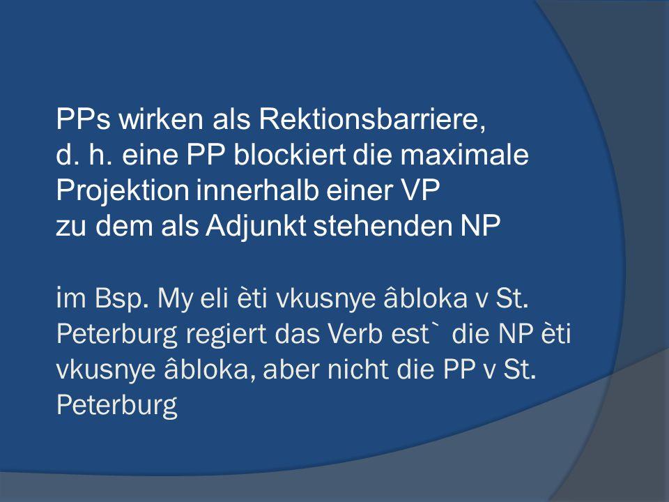 PPs wirken als Rektionsbarriere, d. h. eine PP blockiert die maximale Projektion innerhalb einer VP zu dem als Adjunkt stehenden NP i m Bsp. My eli èt