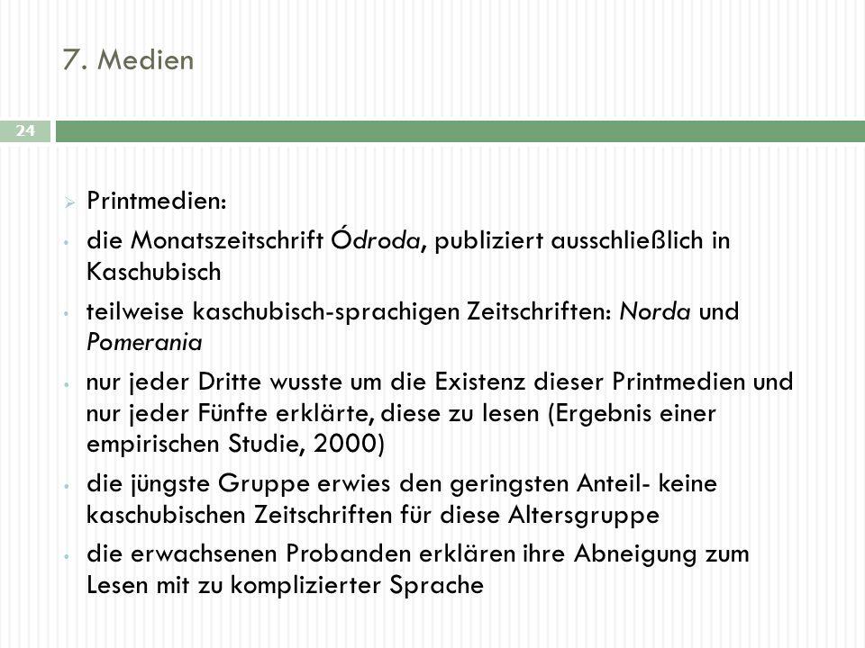 7. Medien 24 Printmedien: die Monatszeitschrift Ódroda, publiziert ausschließlich in Kaschubisch teilweise kaschubisch-sprachigen Zeitschriften: Norda