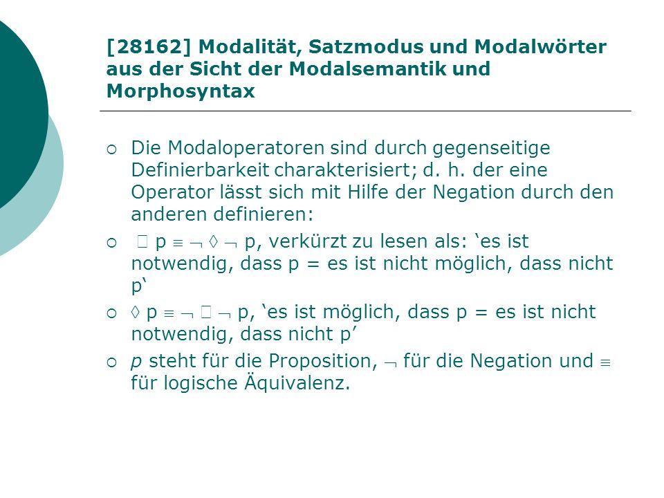 [28162] Modalität, Satzmodus und Modalwörter aus der Sicht der Modalsemantik und Morphosyntax Die Modaloperatoren sind durch gegenseitige Definierbark