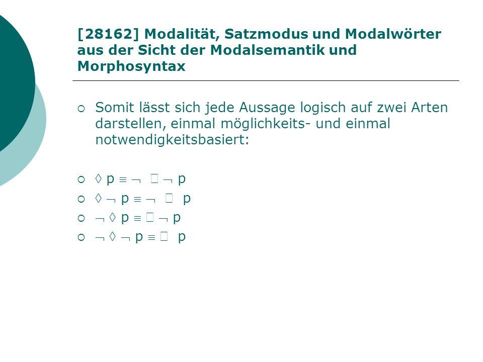 [28162] Modalität, Satzmodus und Modalwörter aus der Sicht der Modalsemantik und Morphosyntax Somit lässt sich jede Aussage logisch auf zwei Arten dar