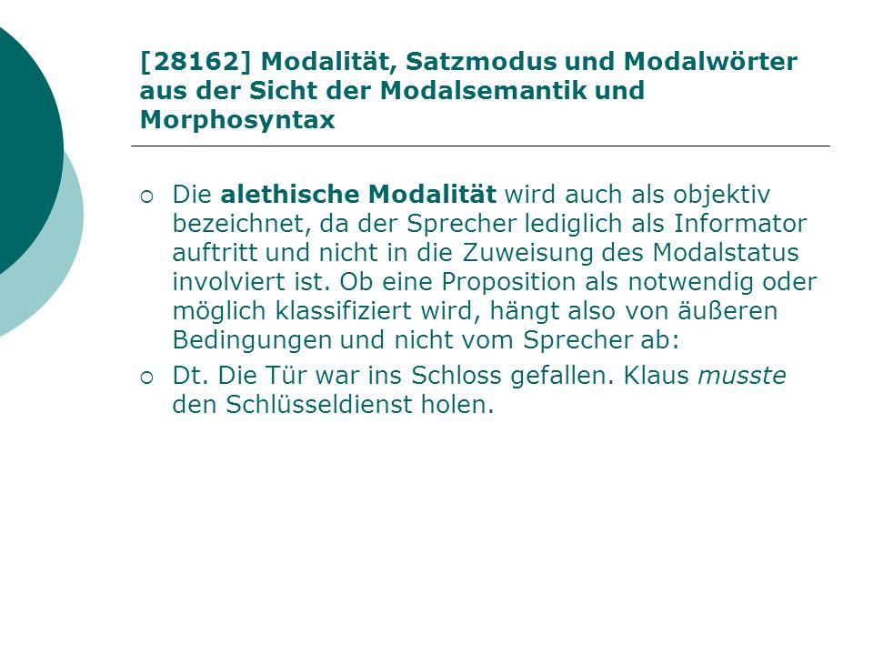 [28162] Modalität, Satzmodus und Modalwörter aus der Sicht der Modalsemantik und Morphosyntax Die alethische Modalität wird auch als objektiv bezeichn