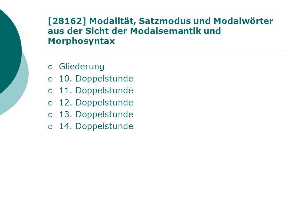 [28162] Modalität, Satzmodus und Modalwörter aus der Sicht der Modalsemantik und Morphosyntax Gliederung 10. Doppelstunde 11. Doppelstunde 12. Doppels