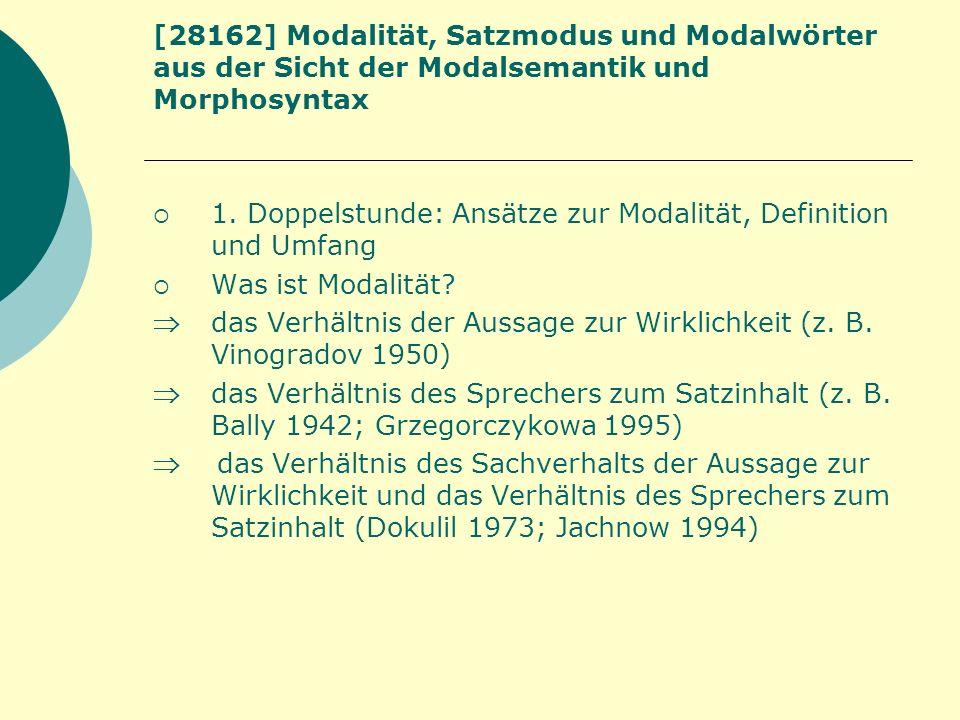 [28162] Modalität, Satzmodus und Modalwörter aus der Sicht der Modalsemantik und Morphosyntax 1. Doppelstunde: Ansätze zur Modalität, Definition und U