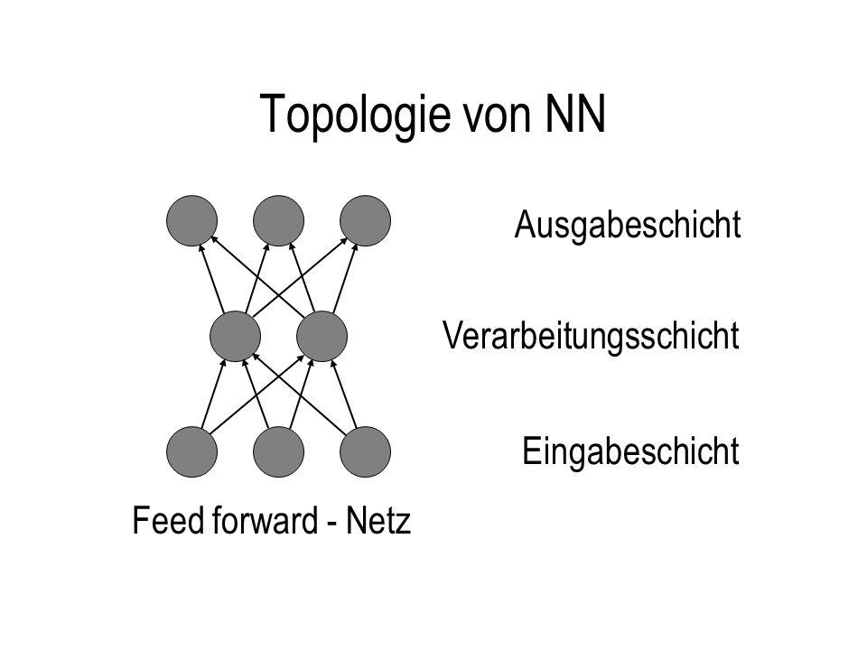 Topologie von NN weitere Typen Feed forward - Netz mit short cuts direkte Rückkopplung indirekte Rückkopplung mit short cuts laterale Rückkopplung vollständig verbunden