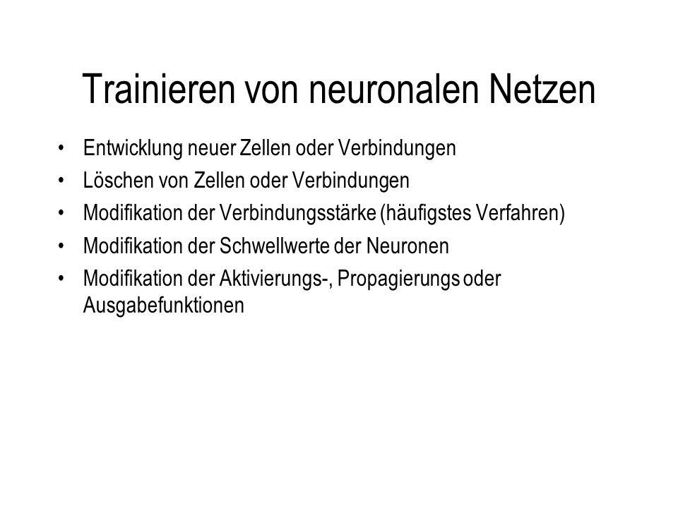 Trainieren von neuronalen Netzen Entwicklung neuer Zellen oder Verbindungen Löschen von Zellen oder Verbindungen Modifikation der Verbindungsstärke (häufigstes Verfahren) Modifikation der Schwellwerte der Neuronen Modifikation der Aktivierungs-, Propagierungs oder Ausgabefunktionen