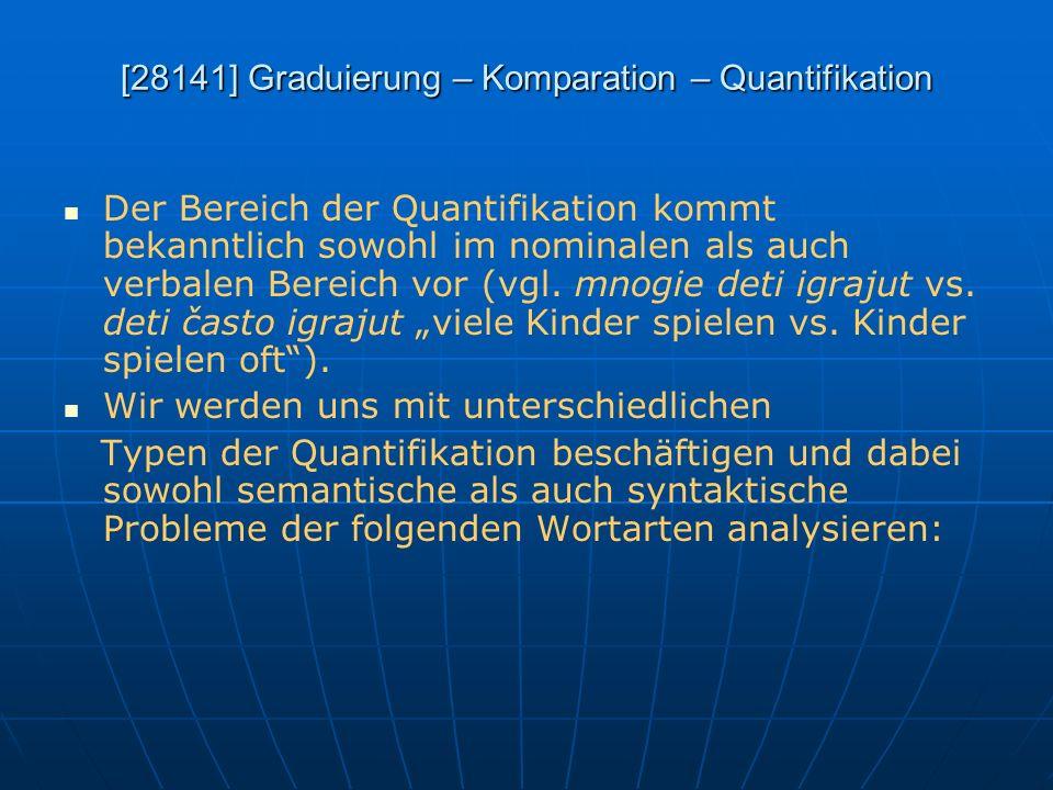 [28141] Graduierung – Komparation – Quantifikation Der Bereich der Quantifikation kommt bekanntlich sowohl im nominalen als auch verbalen Bereich vor