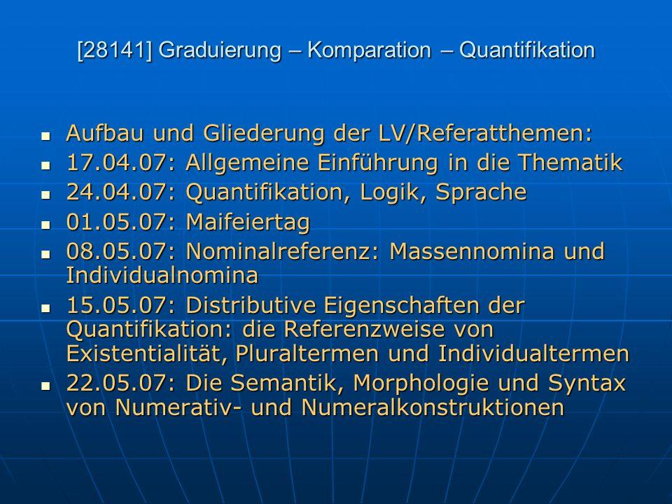 [28141] Graduierung – Komparation – Quantifikation Aufbau und Gliederung der LV/Referatthemen: Aufbau und Gliederung der LV/Referatthemen: 17.04.07: A