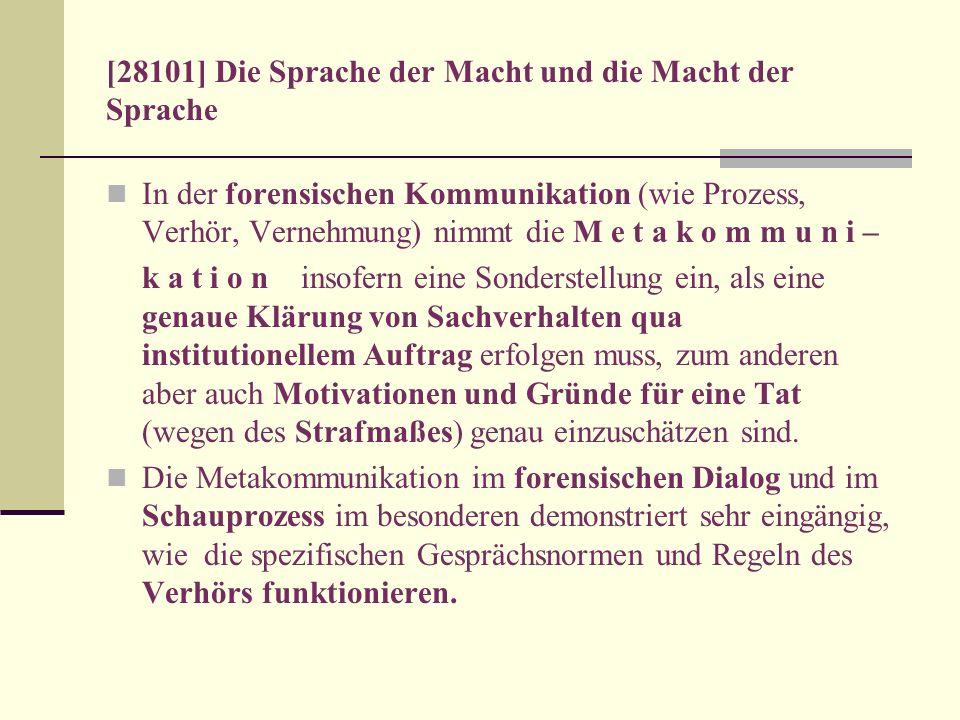 [28101] Die Sprache der Macht und die Macht der Sprache In der forensischen Kommunikation (wie Prozess, Verhör, Vernehmung) nimmt die M e t a k o m m