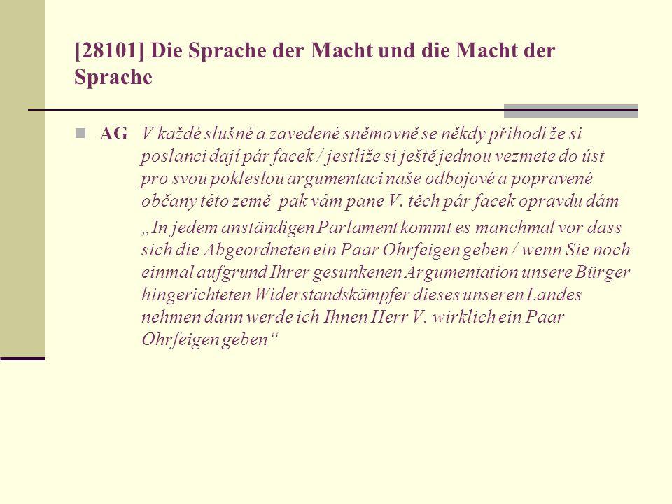 [28101] Die Sprache der Macht und die Macht der Sprache AG V každé slušné a zavedené sněmovně se někdy přihodí že si poslanci dají pár facek / jestliž