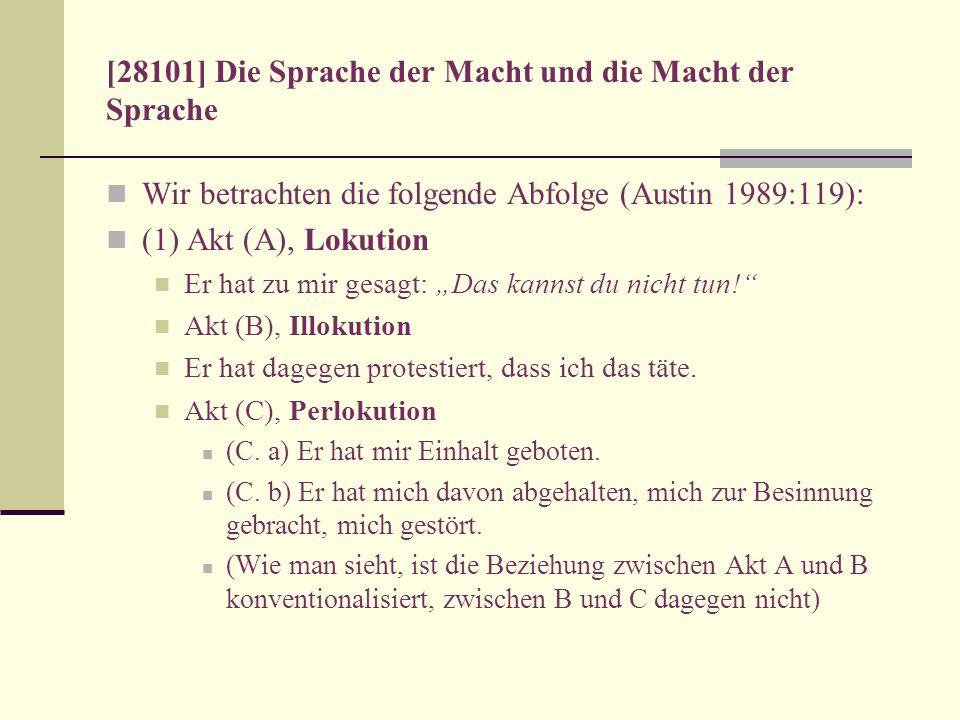 [28101] Die Sprache der Macht und die Macht der Sprache Wir betrachten die folgende Abfolge (Austin 1989:119): (1) Akt (A), Lokution Er hat zu mir ges