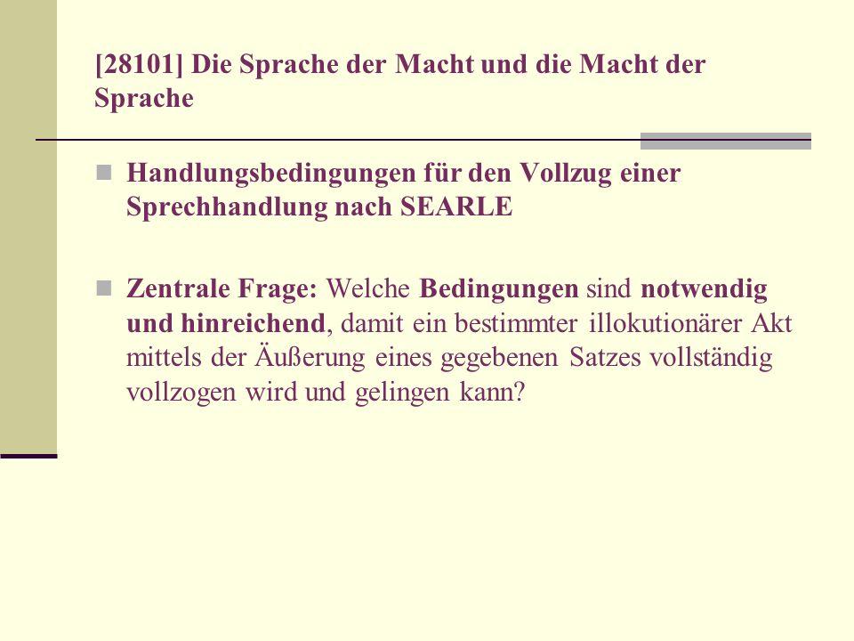 [28101] Die Sprache der Macht und die Macht der Sprache Handlungsbedingungen für den Vollzug einer Sprechhandlung nach SEARLE Zentrale Frage: Welche B