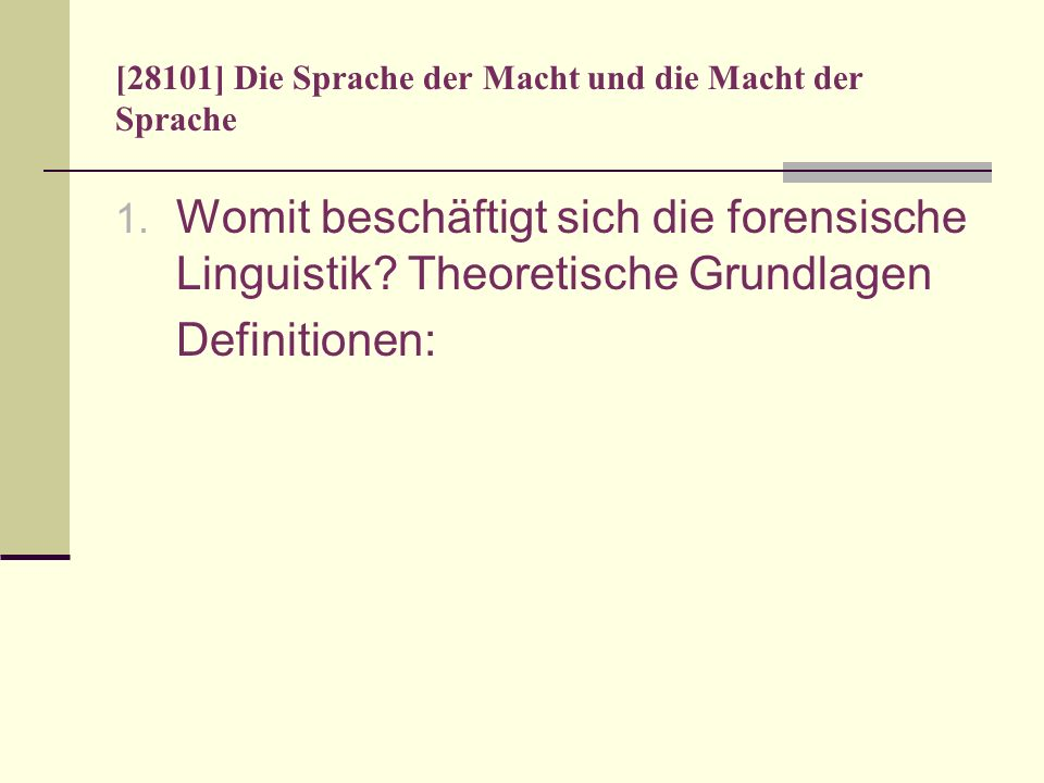 [28101] Die Sprache der Macht und die Macht der Sprache Master Speech Act nach Fotion (1971:234): Similarly when someone says Let us pray, his speech act suggests that those who are within earshot adopt a certain attitude, manner, or what have you, for a set period of time and, as a part of that attitude or manner, use language in a certain way or ways.