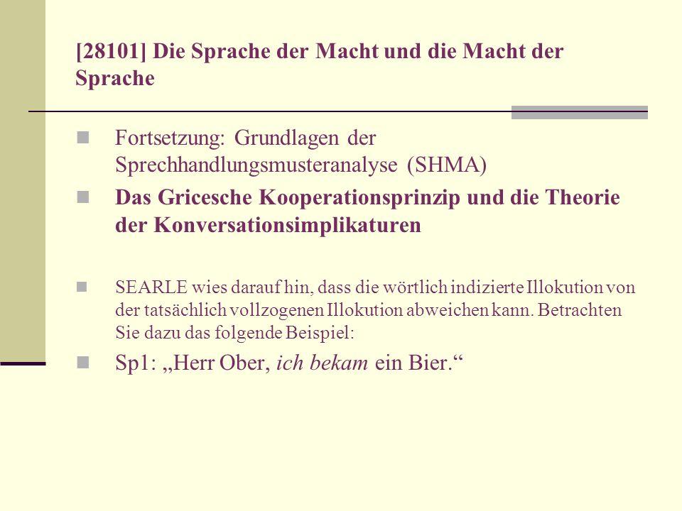 [28101] Die Sprache der Macht und die Macht der Sprache Fortsetzung: Grundlagen der Sprechhandlungsmusteranalyse (SHMA) Das Gricesche Kooperationsprin