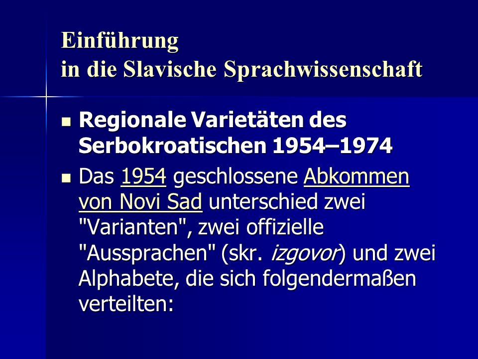 Einführung in die Slavische Sprachwissenschaft Regionale Varietäten des Serbokroatischen 1954–1974 Regionale Varietäten des Serbokroatischen 1954–1974 Das 1954 geschlossene Abkommen von Novi Sad unterschied zwei Varianten , zwei offizielle Aussprachen (skr.