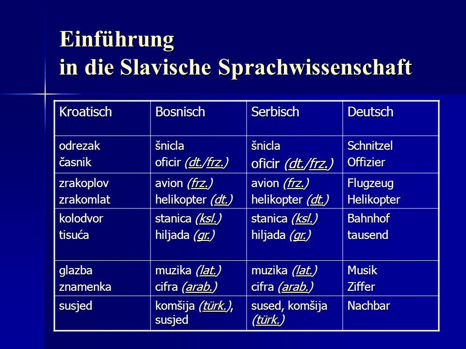 Einführung in die Slavische Sprachwissenschaft KroatischBosnischSerbischDeutsch odrezakčasnikšnicla oficir (dt./frz.) dt.frz.dt.frz.šnicla oficir (dt.