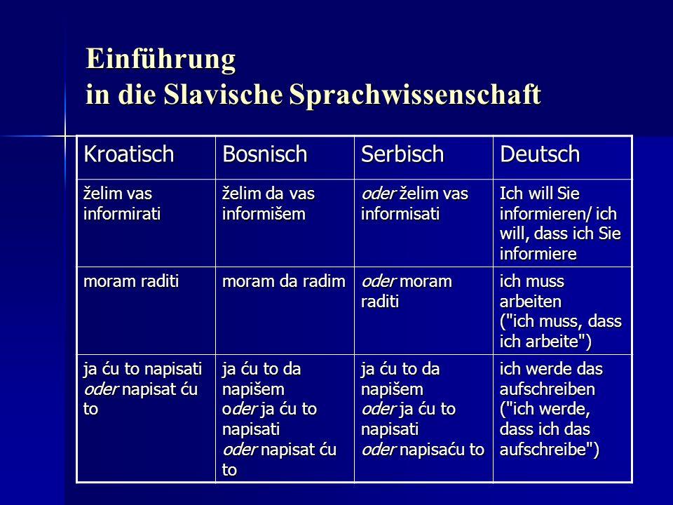 Einführung in die Slavische Sprachwissenschaft KroatischBosnischSerbischDeutsch želim vas informirati želim da vas informišem oder želim vas informisa