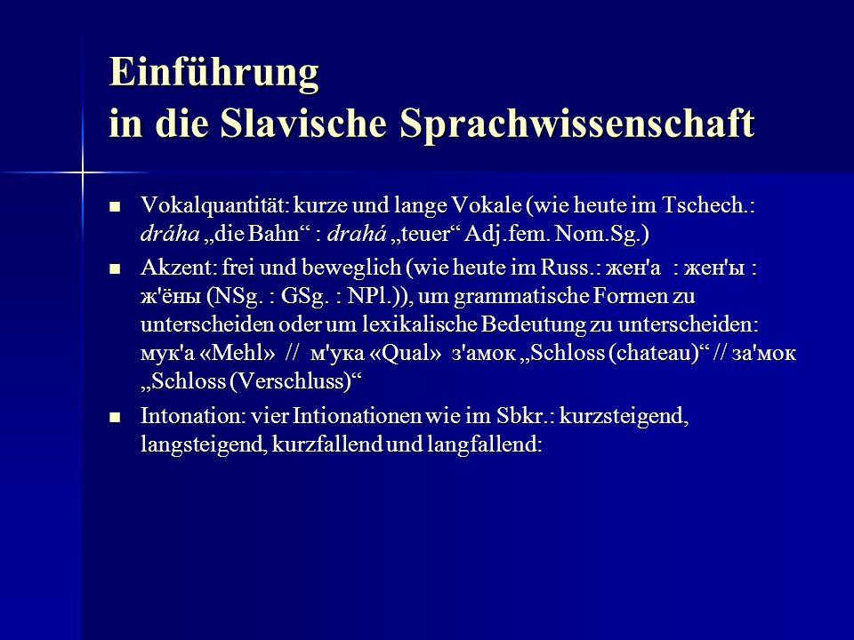 Einführung in die Slavische Sprachwissenschaft Vokalquantität: kurze und lange Vokale (wie heute im Tschech.: dráha die Bahn : drahá teuer Adj.fem.