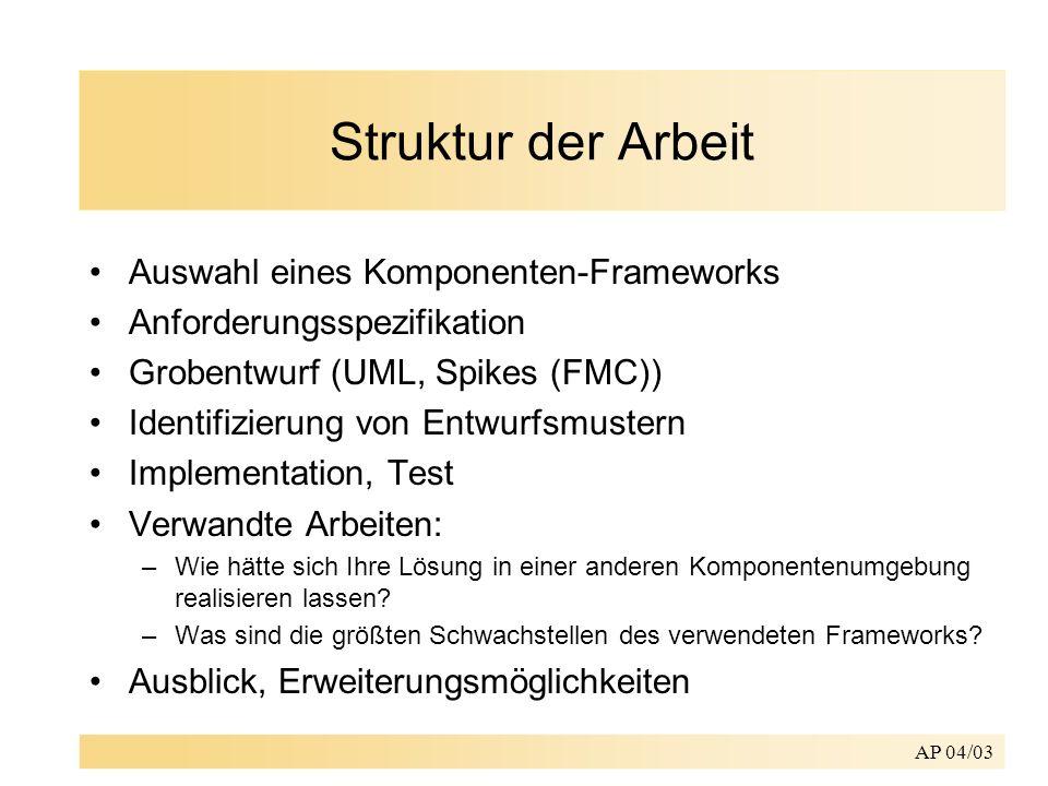 AP 04/03 Struktur der Arbeit Auswahl eines Komponenten-Frameworks Anforderungsspezifikation Grobentwurf (UML, Spikes (FMC)) Identifizierung von Entwur