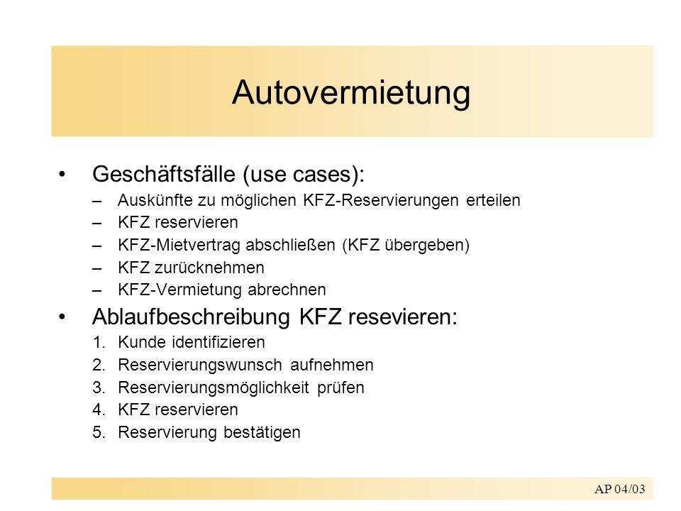 AP 04/03 Autovermietung Geschäftsfälle (use cases): –Auskünfte zu möglichen KFZ-Reservierungen erteilen –KFZ reservieren –KFZ-Mietvertrag abschließen