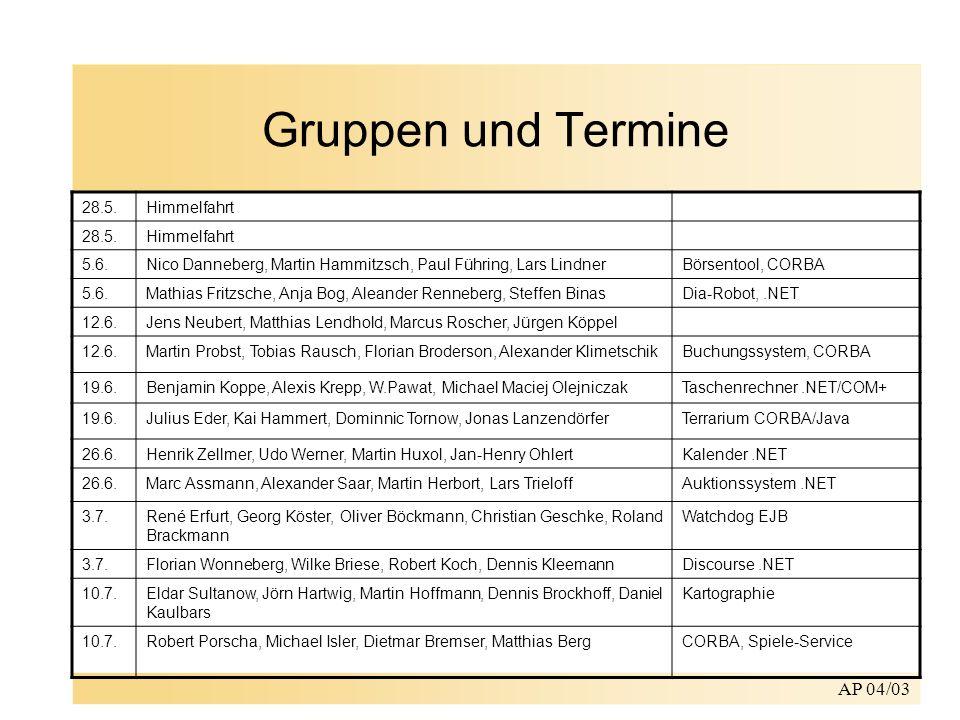 AP 04/03 Gruppen und Termine 28.5.Himmelfahrt 28.5.Himmelfahrt 5.6.Nico Danneberg, Martin Hammitzsch, Paul Führing, Lars LindnerBörsentool, CORBA 5.6.