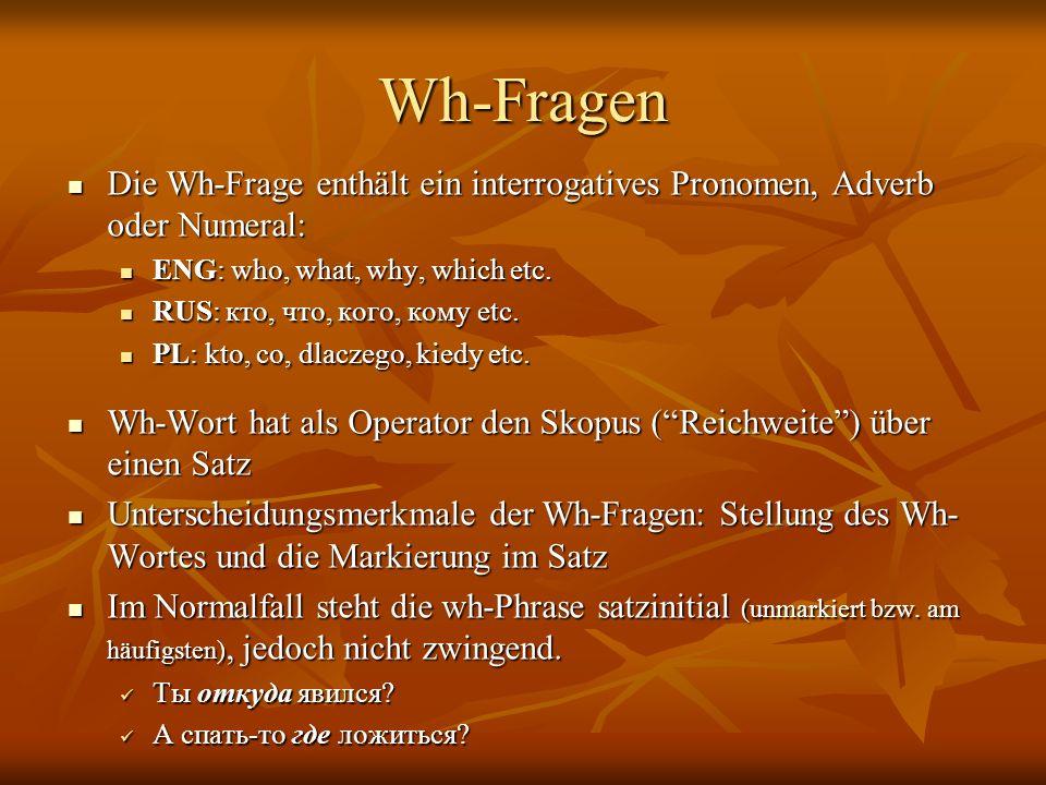 Wh-Fragen Die Wh-Frage enthält ein interrogatives Pronomen, Adverb oder Numeral: Die Wh-Frage enthält ein interrogatives Pronomen, Adverb oder Numeral: ENG: who, what, why, which etc.