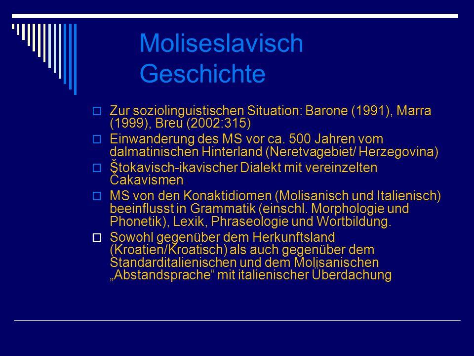 Moliseslavisch Geschichte Zur soziolinguistischen Situation: Barone (1991), Marra (1999), Breu (2002:315) Einwanderung des MS vor ca. 500 Jahren vom d