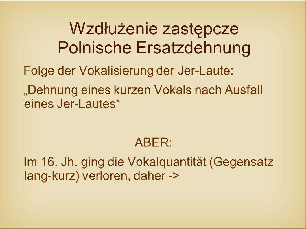 Wzdłużenie zastępcze Polnische Ersatzdehnung Folge der Vokalisierung der Jer-Laute: Dehnung eines kurzen Vokals nach Ausfall eines Jer-Lautes ABER: Im