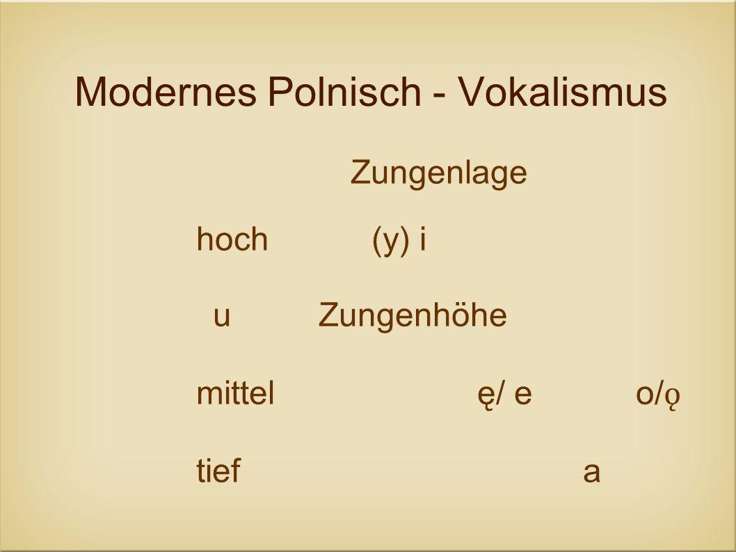 Modernes Polnisch - Vokalismus Zungenlage hoch(y) i uZungenhöhe mittelę/ eo/ ǫ tiefa
