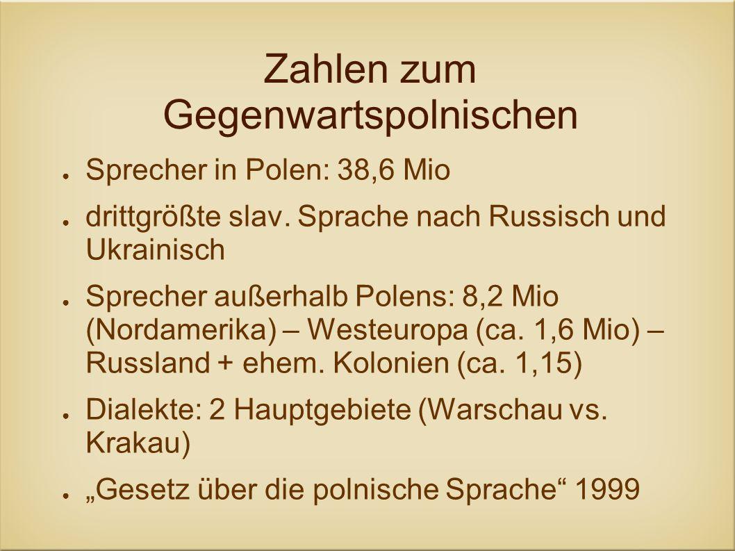Zahlen zum Gegenwartspolnischen Sprecher in Polen: 38,6 Mio drittgrößte slav. Sprache nach Russisch und Ukrainisch Sprecher außerhalb Polens: 8,2 Mio