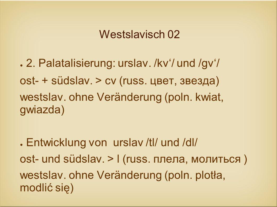 Westslavisch 02 2. Palatalisierung: urslav. /kv/ und /gv/ ost- + südslav. > cv (russ. цвет, звезда) westslav. ohne Veränderung (poln. kwiat, gwiazda)