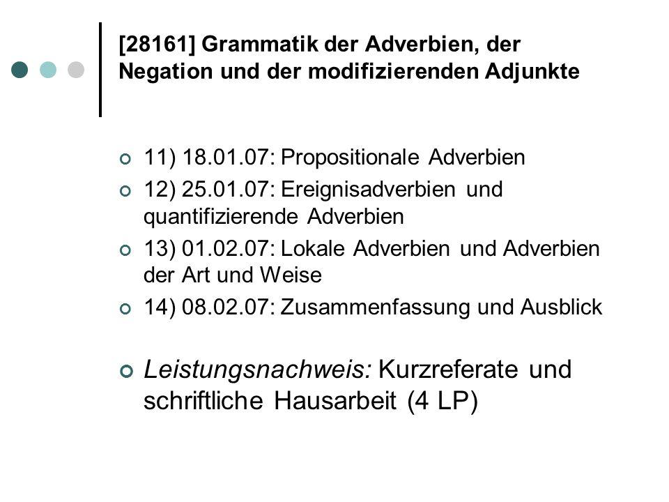 [28161] Grammatik der Adverbien, der Negation und der modifizierenden Adjunkte Literatur: AG 1980 = Russkaja grammatika.