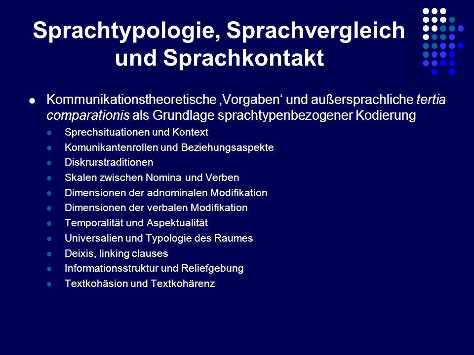 Sprachtypologie, Sprachvergleich und Sprachkontakt Kommunikationstheoretische Vorgaben und außersprachliche tertia comparationis als Grundlage spracht