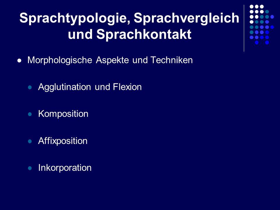 Sprachtypologie, Sprachvergleich und Sprachkontakt Morphologische Aspekte und Techniken Agglutination und Flexion Komposition Affixposition Inkorporat
