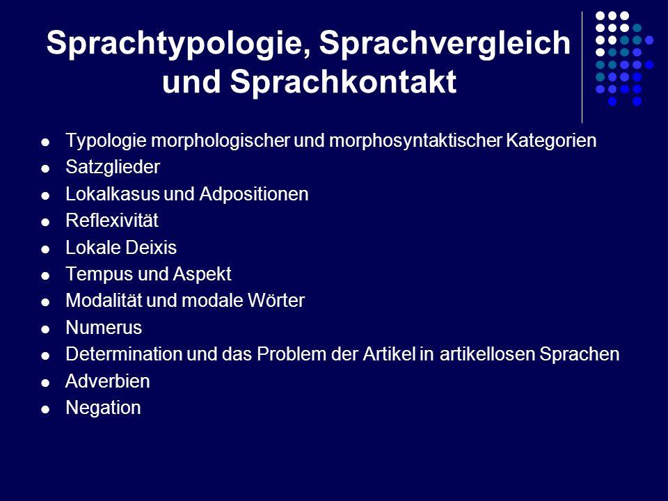 Sprachtypologie, Sprachvergleich und Sprachkontakt Typologie morphologischer und morphosyntaktischer Kategorien Satzglieder Lokalkasus und Adpositione