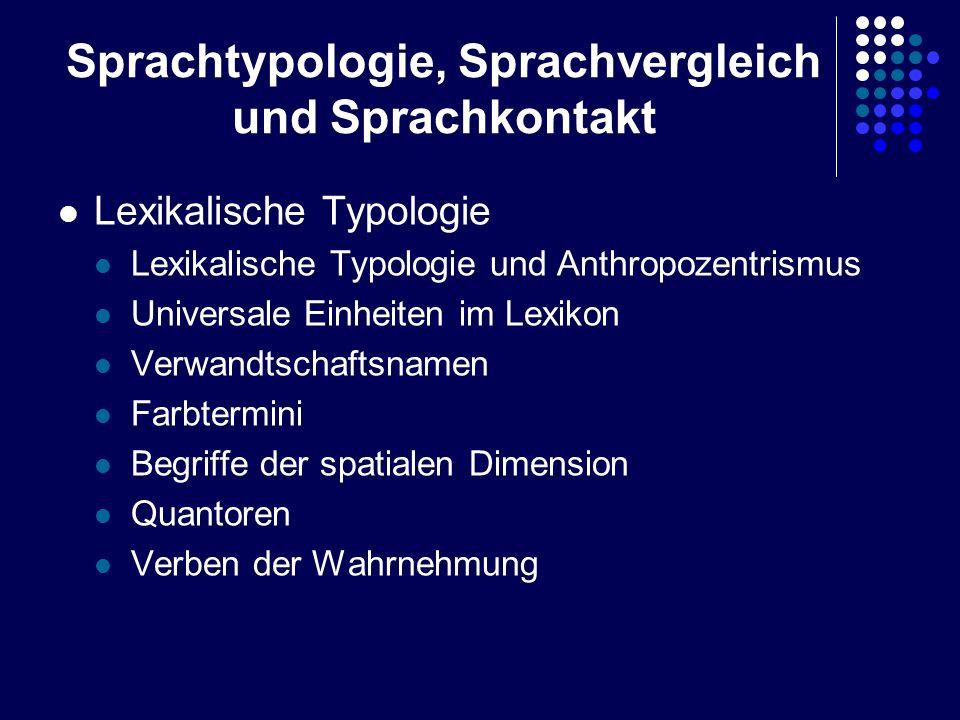 Sprachtypologie, Sprachvergleich und Sprachkontakt Lexikalische Typologie Lexikalische Typologie und Anthropozentrismus Universale Einheiten im Lexiko