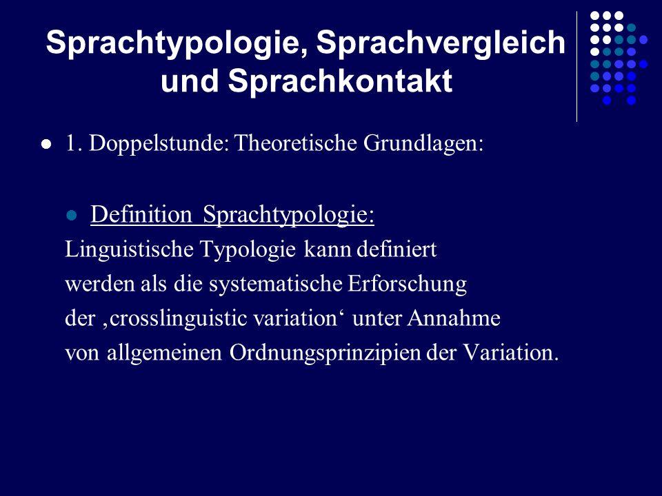 Sprachtypologie, Sprachvergleich und Sprachkontakt 1. Doppelstunde: Theoretische Grundlagen: Definition Sprachtypologie: Linguistische Typologie kann