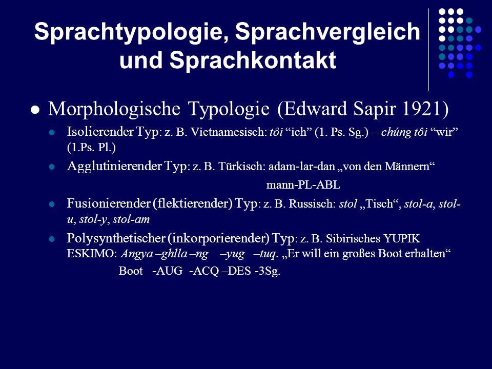 Sprachtypologie, Sprachvergleich und Sprachkontakt Morphologische Typologie (Edward Sapir 1921) Isolierender Typ : z. B. Vietnamesisch: tôi ich (1. Ps