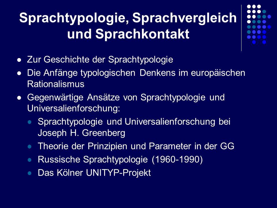 Sprachtypologie, Sprachvergleich und Sprachkontakt Zur Geschichte der Sprachtypologie Die Anfänge typologischen Denkens im europäischen Rationalismus